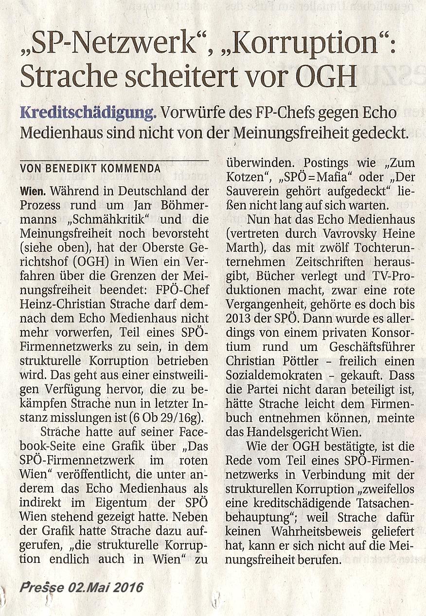 160502 Presse Strache verliert!