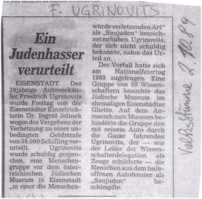 Volksstimme Zeitung 02101989!