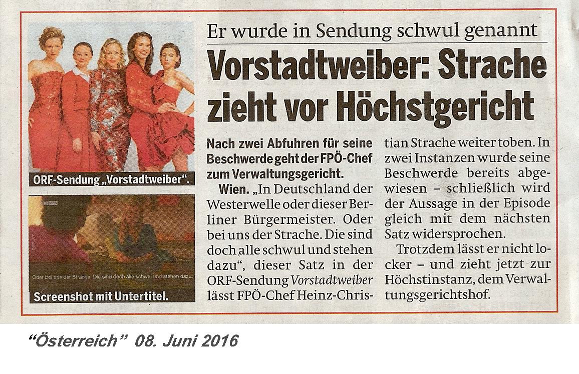 160608 Österreich Strache klagt Vorstadtweiber